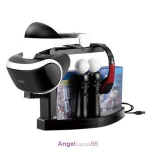 6-Fach: Playstation VR Stand mit Ladestation für 1 Dualshock + 2 Move-Controller  + Platz für 6 Games + 1 Headset [Option*]
