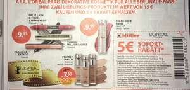 [ Müller , L'OREAL ]                            5€ Sofort- Rabatt beim Kauf von mindestens 2 L'OREAL Produkten im Gesamtwert von mindestens 15€