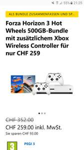 Xbox One S 500 GB Forza Horizon 3 Bundle und Hot Wheels DLC mit 2 Controllern