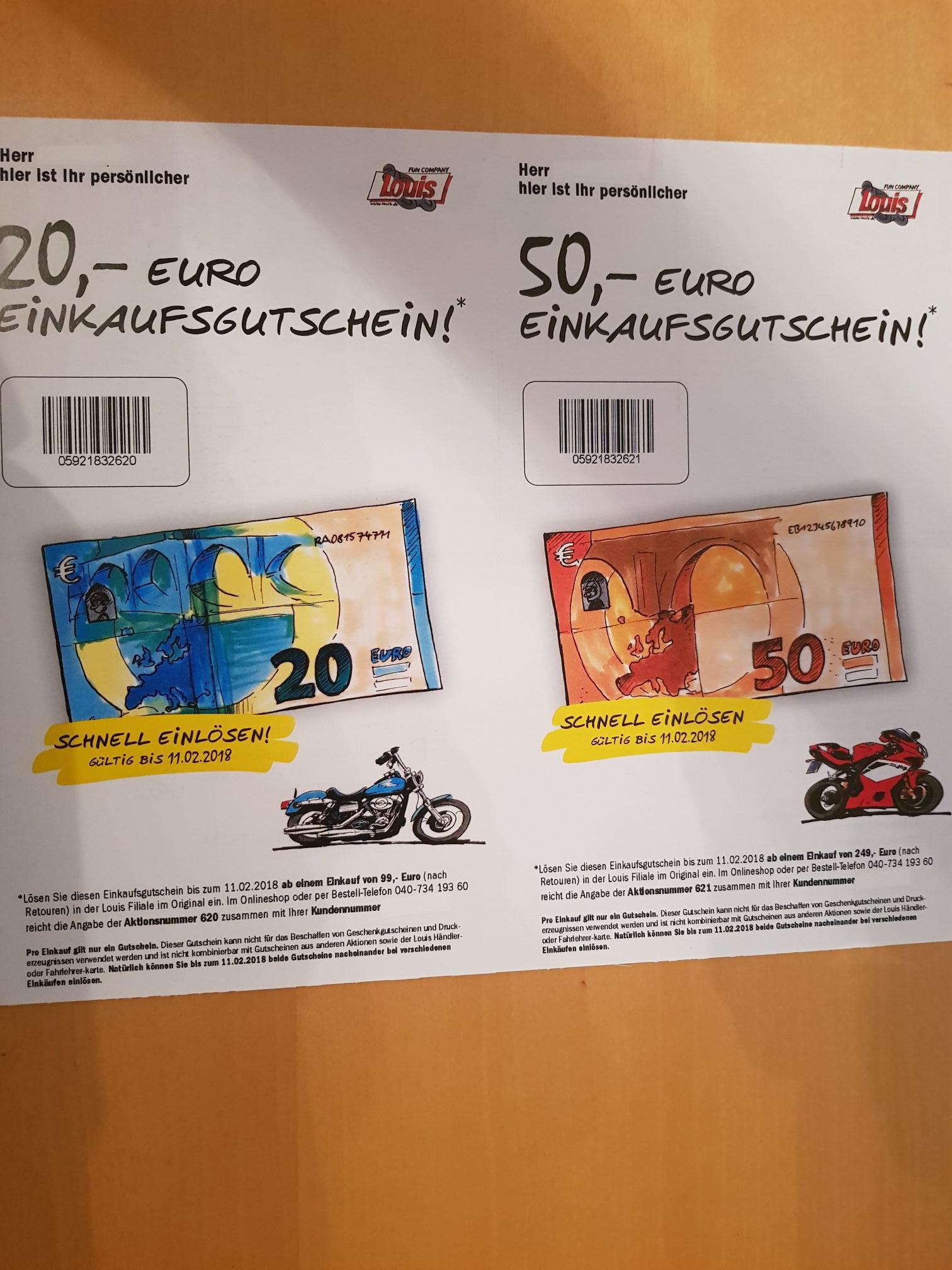 Louis Gutscheincode 20€/99€ MBW oder 50€ 249€ MBW