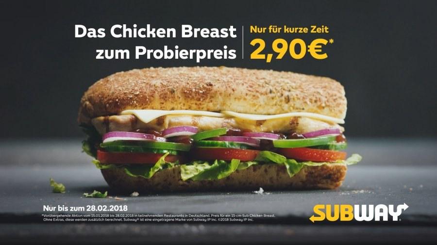 Subway Chicken Breast Sandwich 15cm für 2,90 bundesweit