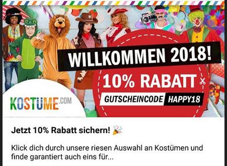 10% Rabatt auf alle Kostüme bei Kostüme.com