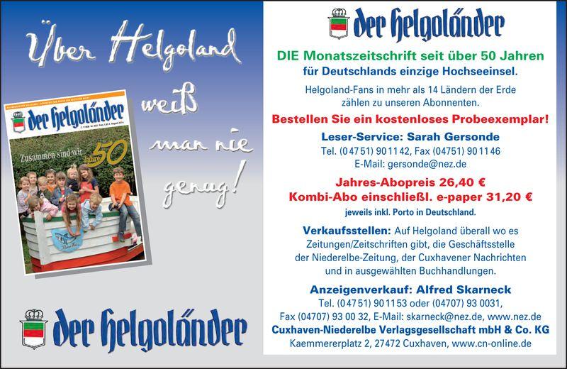 """""""Der Helgoländer"""" Kostenloses und Unverdindliches Probeexemplar"""