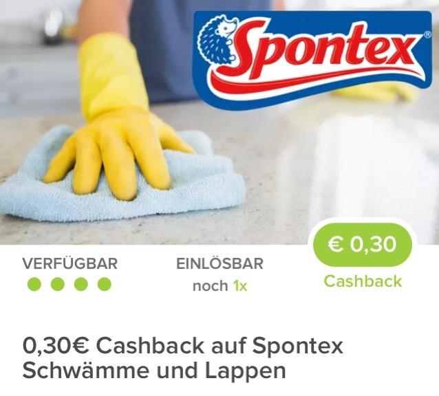 [ Marktguru ]                                     Ab 24.01.2018 einlösbar                    0,30€ Cashback auf Spontex Schwämme und Lappen