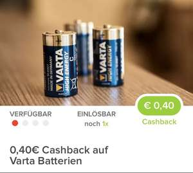 [ Marktguru]                                       Ab 10.01.2018  einlösbar                   0,40€ Cashback beim Kauf einer Packung Varta Batterien deiner Wahl.