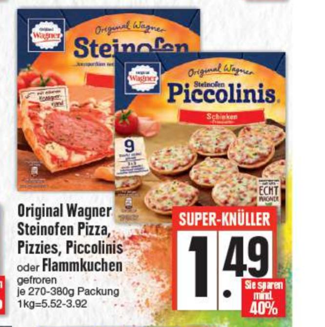 [EDEKA bundesweit?] 1,49€ Original Wagner Steinofen Pizza, Pizzies, Piccolinis & Flammkuchen