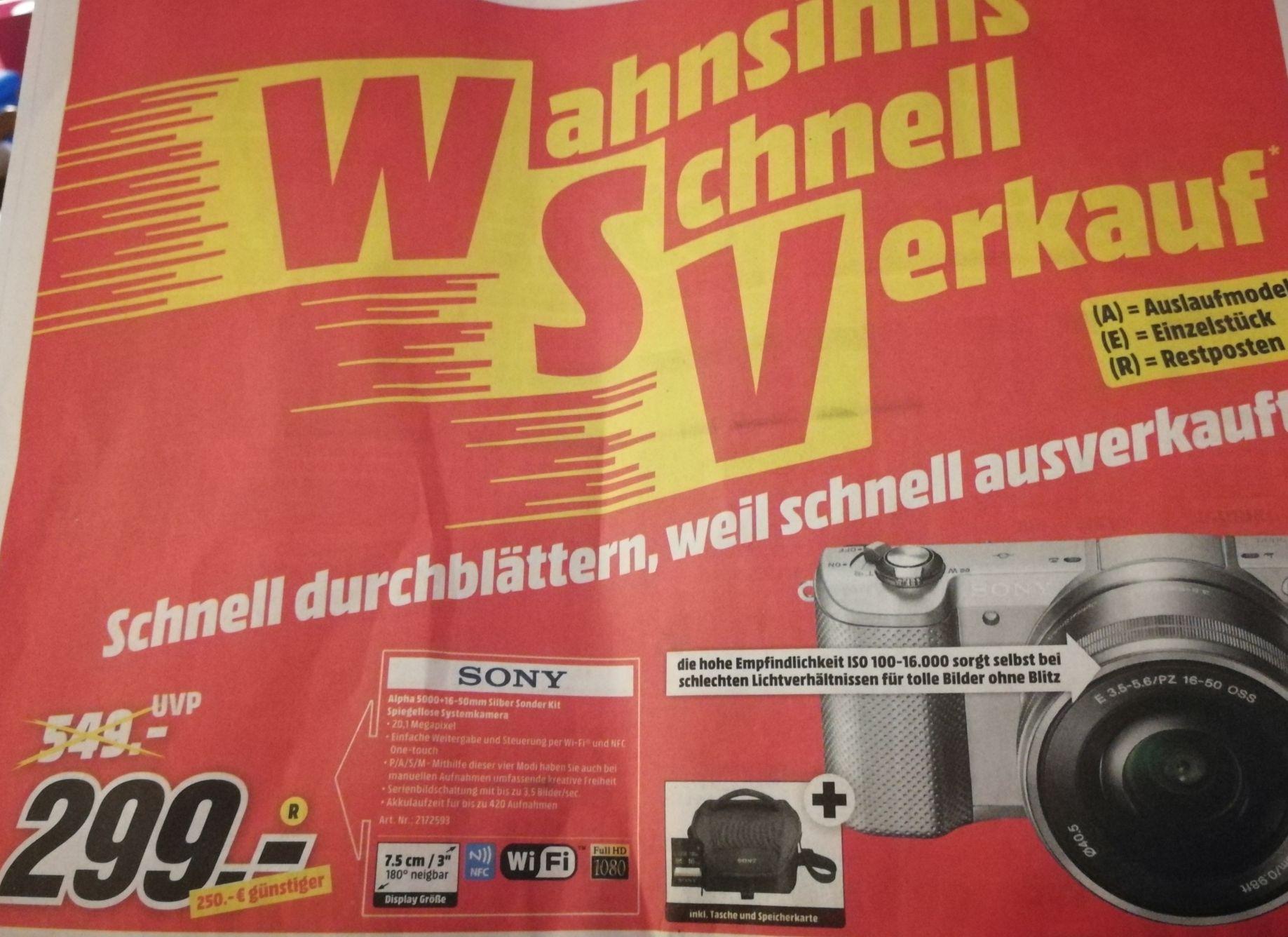 Sony Alpha 5000Kit 16-50 mm silber inkl. Tasche und Speicherkarte, lokal in Heilbronn, Restposten