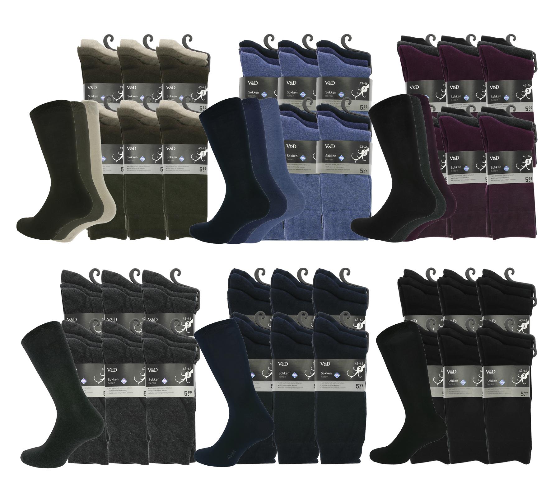 36 Paar V&D Socken für 20€ (Paarpreis 0,55€, unterschiedliche Größen und Farbsets wählbar) [www.outlet46.de]