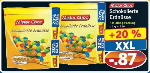 Schokolierte Erdnüsse (Fake M&M´s) von Mister Choc   300g für 87 CENT @ LIDL Bundesweit