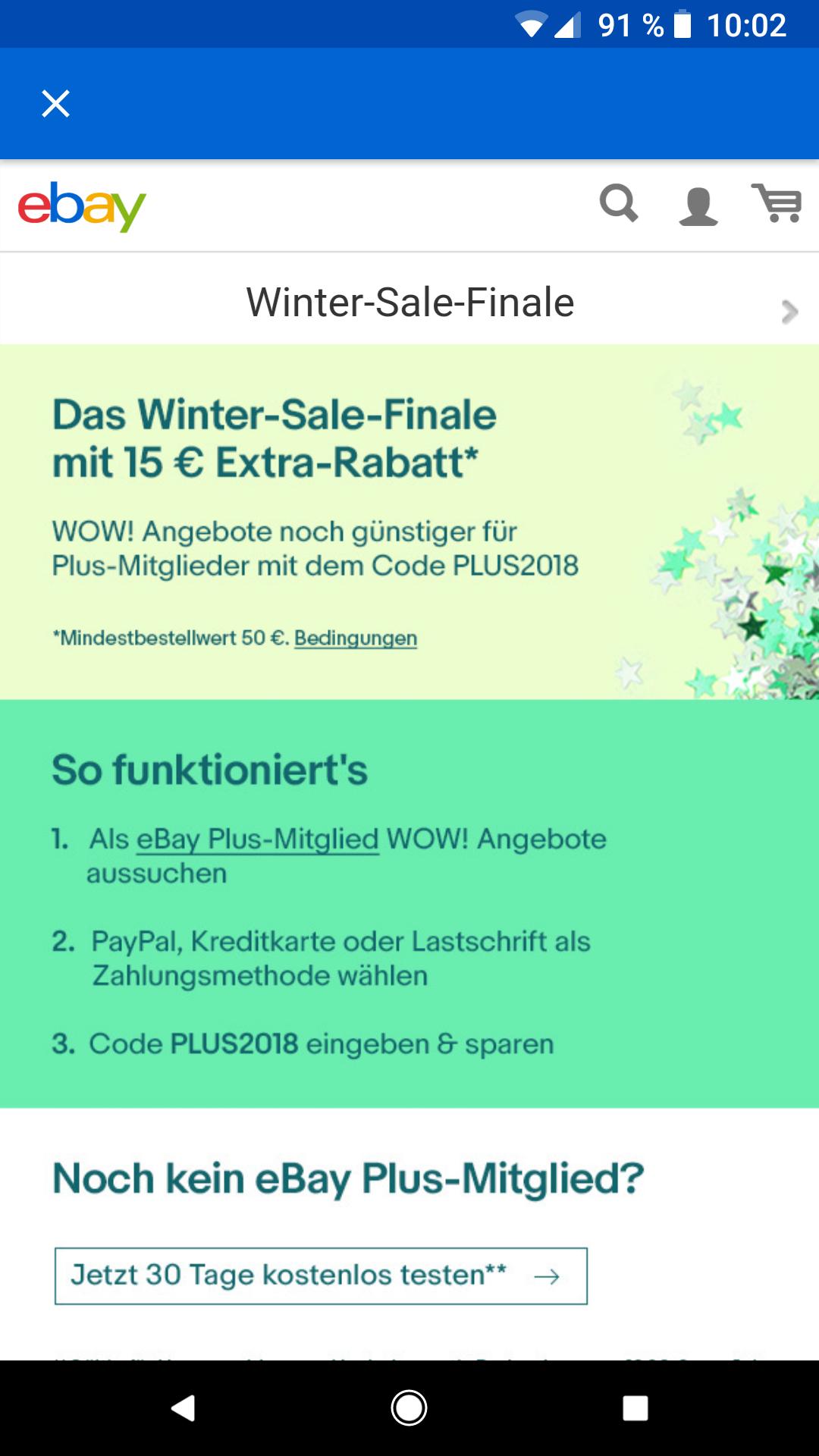 eBay plus Gutschein 15% auf wintersale wow Angebote