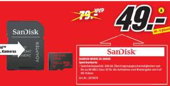 [Regional Mediamarkt Rendsburg] SanDisk 200GB Ultra microSD Speicherkarte 90MB/s [+SD-Adapter] für 49,-€