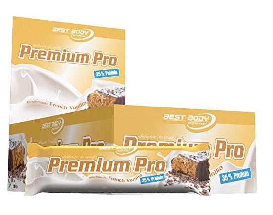 24 Premium Pro Protein Riegel in French Vanilla oder Erdbeer Banane