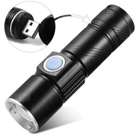 Mini USB wiederaufladbare zoombare LED Taschenlampe XD-Z501 Cree XPE 350Lm Li-Ion 16340 / 600mAh