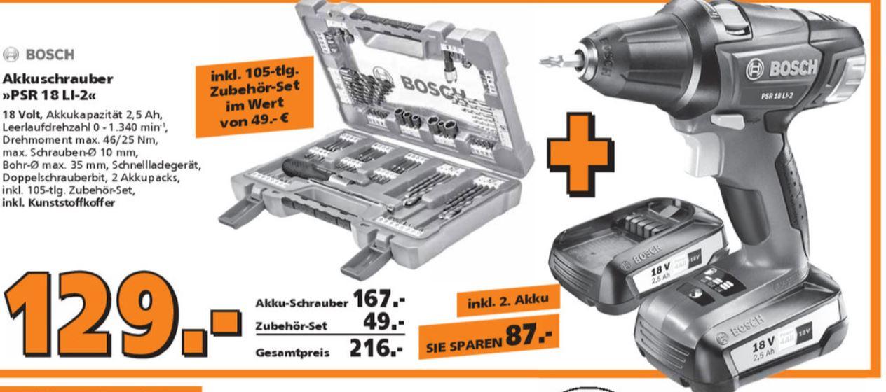 [Globus Baumarkt] Bosch PSR 18 LI2 + Bit/Bohrer Set für 129 €