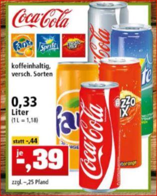 Coca-Cola (verschiedene Sorten), Fanta, Sprite, MezzoMix, 0,33l für 39 Cent [Thomas Philipps]