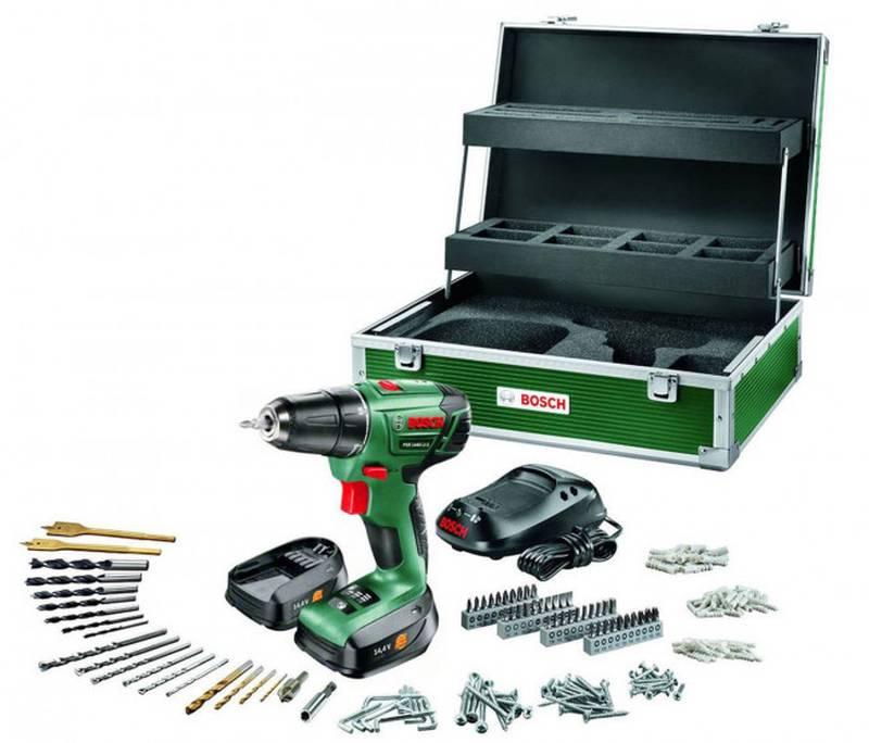 Bosch Akkuschrauber mit Koffer & viel Zubehör, 2 Akkus und Ladegerät