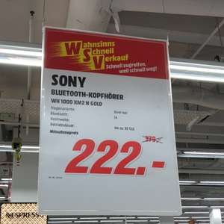 [lokal] Sony WH-1000 XM2 N GOLD im Mediamarkt Ludwigsburg