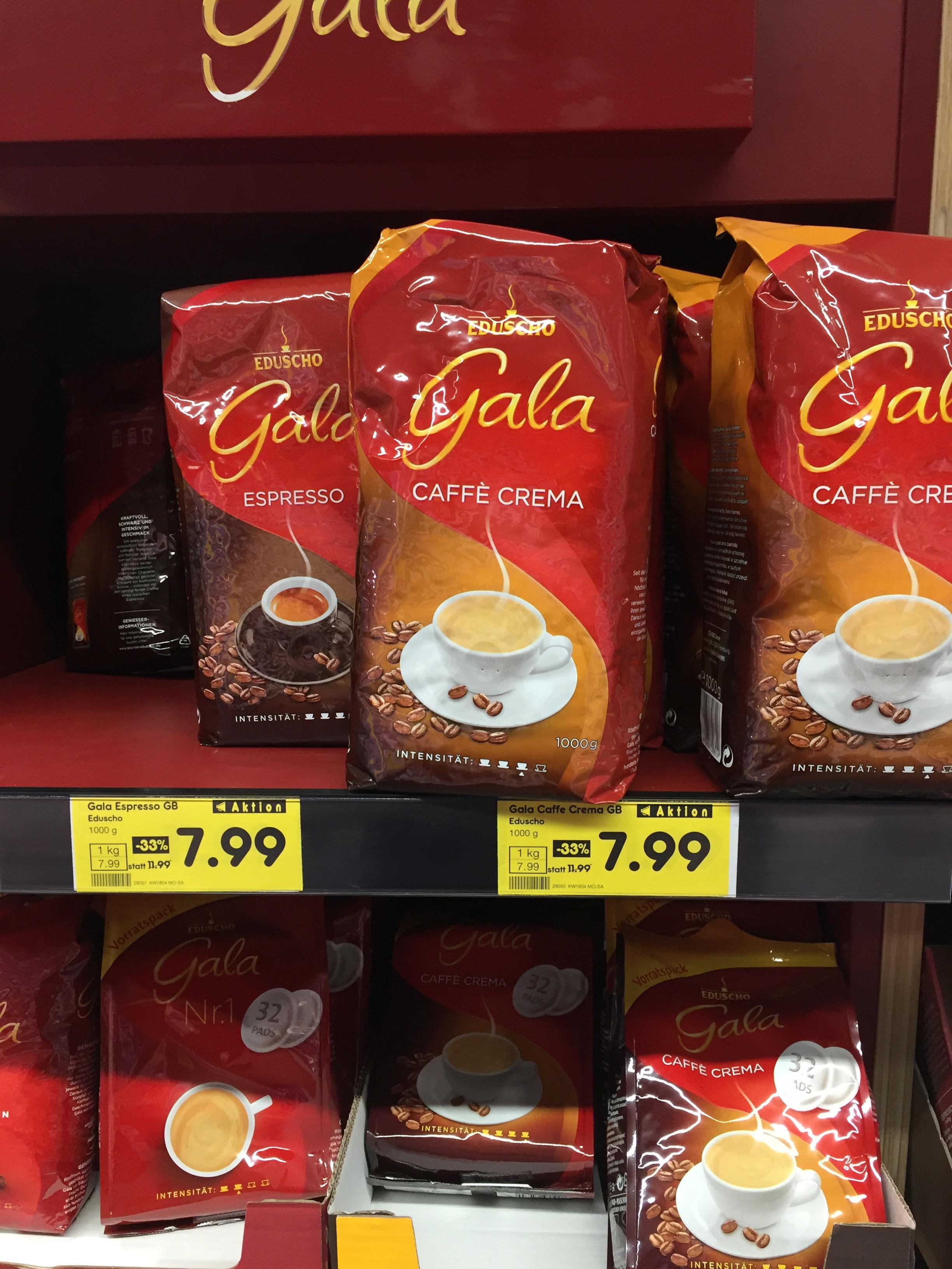 Netto Eduscho Gala Espresso und Café Crema in ganzen Bohnen1 kg