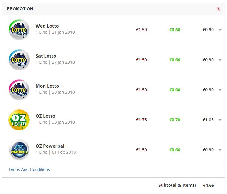 Jackpot.com - Wed/Mon/Sat Lotto + OZ Lotto + OZ Powerball - Neu- und Bestandskunden