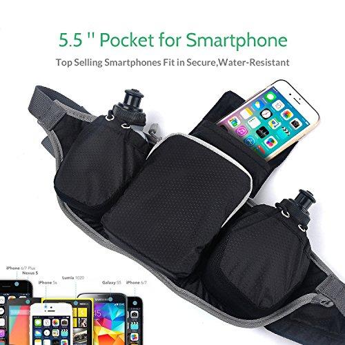 [Amazon Plus Produkt] KSCAT Running Gürteltasche mit 2 BPA-frei Wasser Flaschen, verstellbar an Taille, passend für iPhone 6 Plus und Smartphones, leicht & Langlebig Wasserdicht
