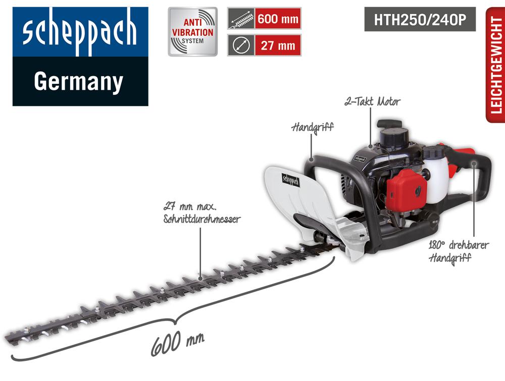 {NORMA24} Scheppach 60cm Benzin Heckenschere HTH250