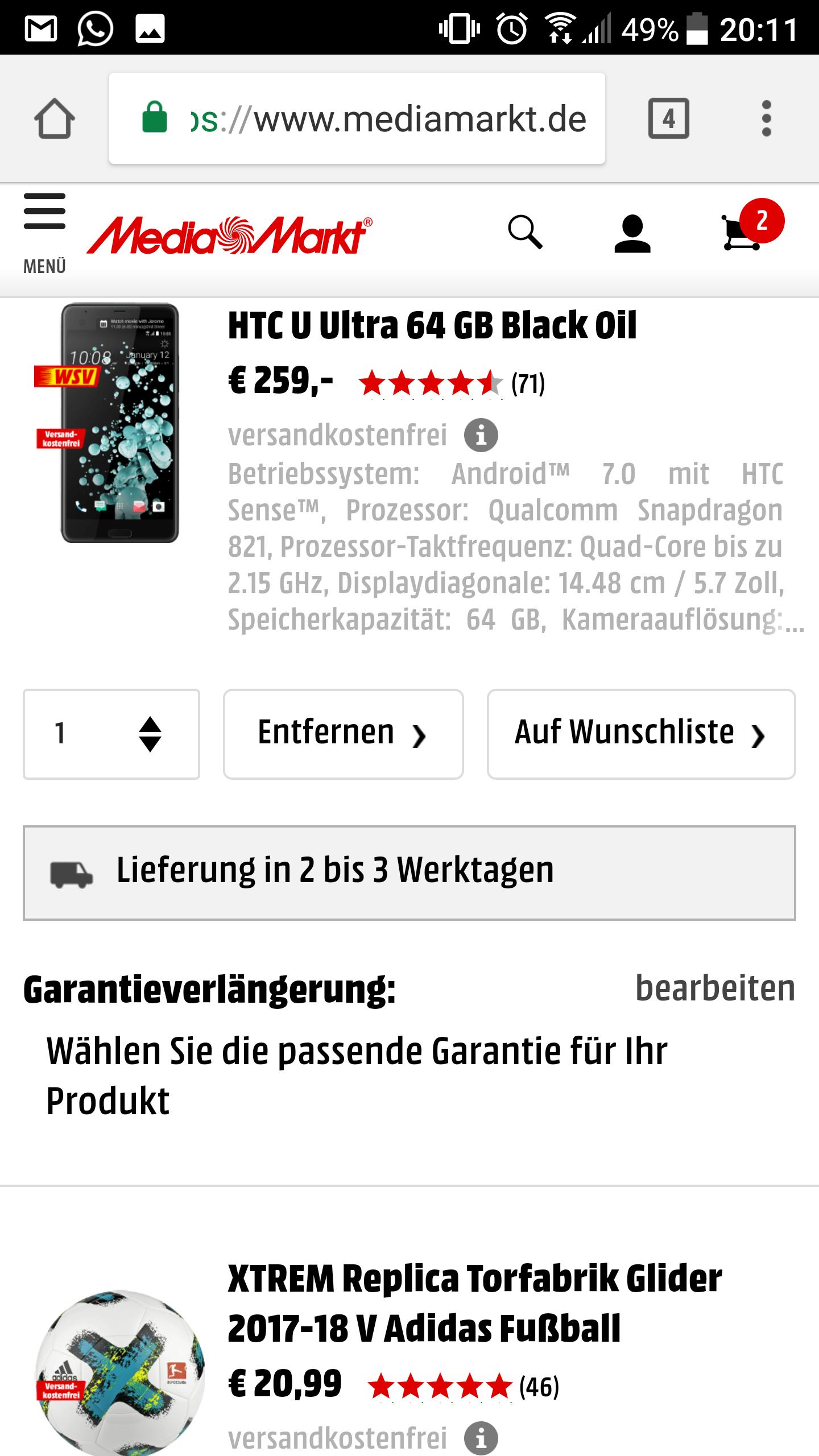 HTC U Ultra 64 GB + Adidas Fussball 259€