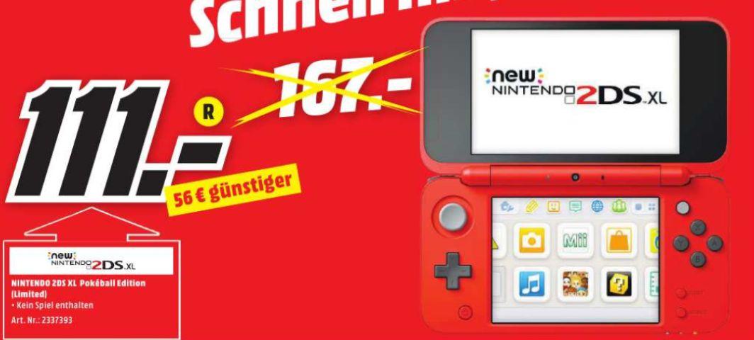 [Regional Mediamarkt Goslar] Nintendo New Nintendo 2DS XL Pokéball Edition Spielekonsole (Schwarz, Rot, Weiß) für 111,-€