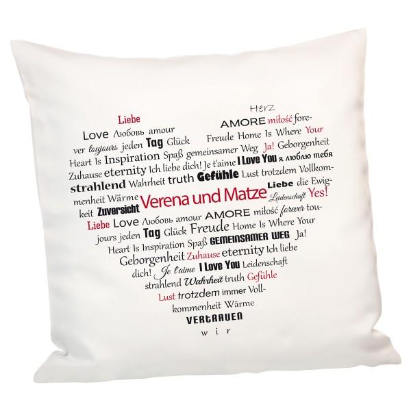 Valentinstag Angebot bei Geschenke 24 z.B. Kissenherzen aus Worten