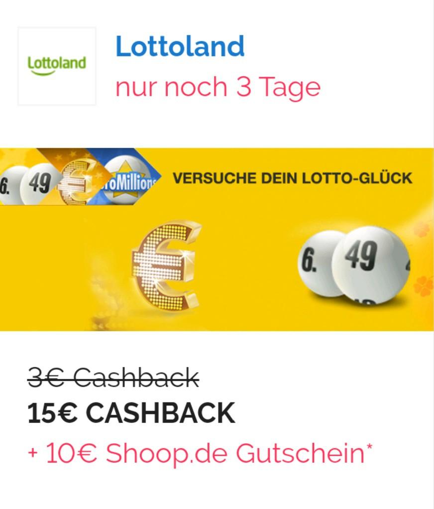 Lottoland-Neukunden: 15 Euro Cashback-Aktion bei Mindesteinsatz von 5 Euro über Shoop