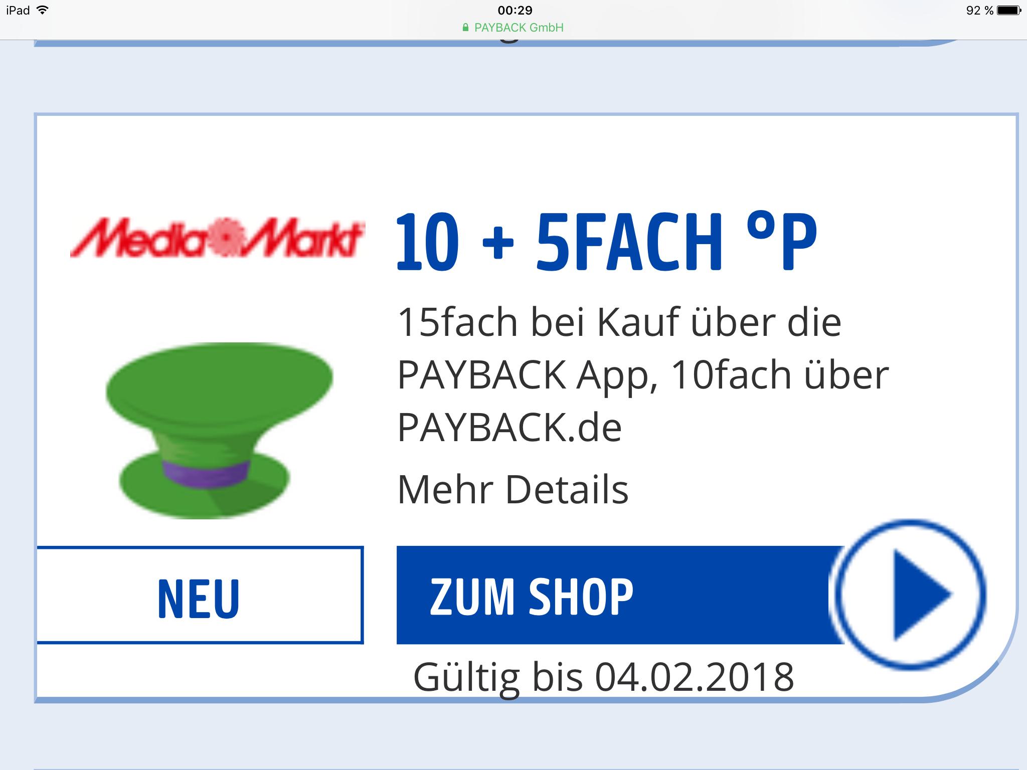 Payback 15fach Paybackpunkte Media Markt  über die App 10fach ohne App