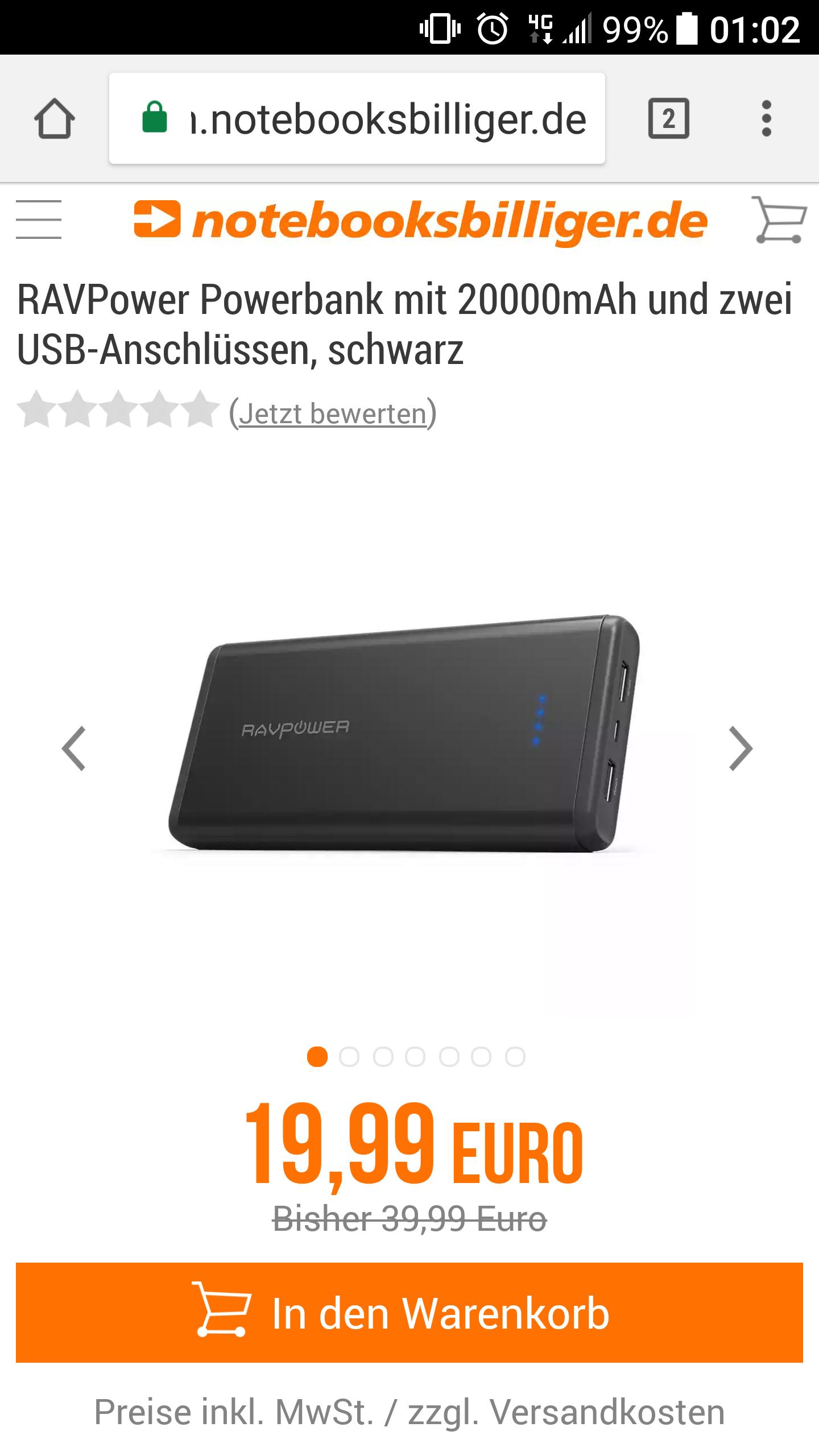 [Notebooksbilliger] Ravpower  Powerbank mit 20000mAh / 2 Anschlüsse / Schwarz für 19.99 € + ab 2.99 € Versand