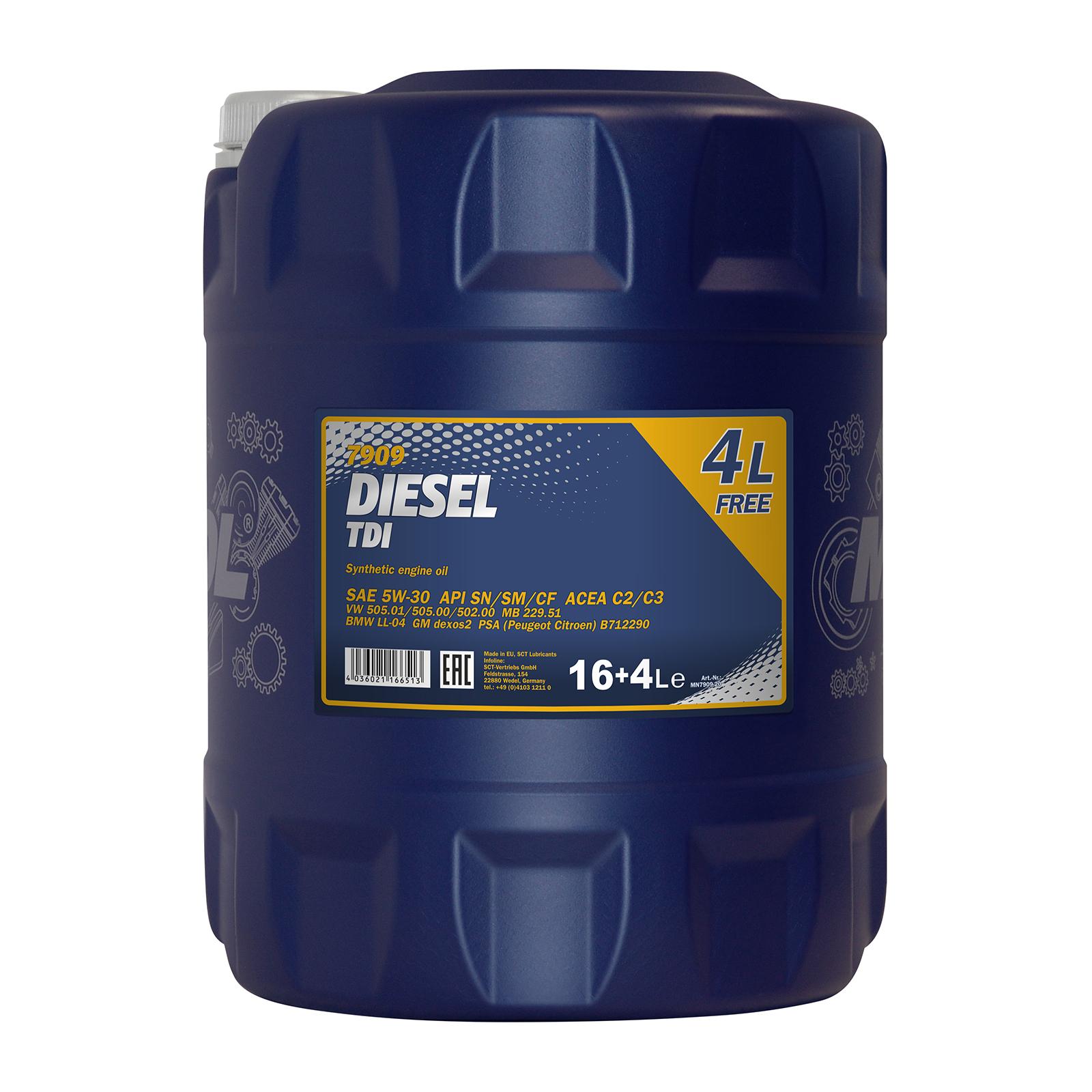 SPARANGEBOT: 20 Liter MANNOL 5W-30 Diesel TDI, davon 4 Liter gratis