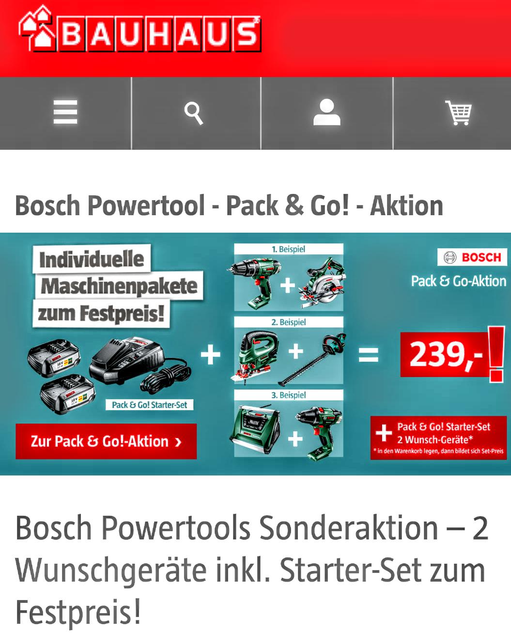 Bosch Pack And Go Starterset Plus 2 Geräte Für 239 Bauhaus Online