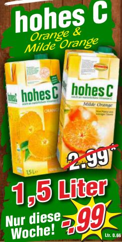 Hohes C 1,5l Orange oder Milde Orange // Mövenpick Mandeleis mit Orangensauce 850ml für je nur 0,99€ bei Wiglo MV