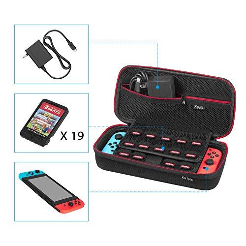KeTen Nintendo Switch Tasche für Konsole, Controller, Zubehör und bis zu 19 Spiele auf Amazon Prime