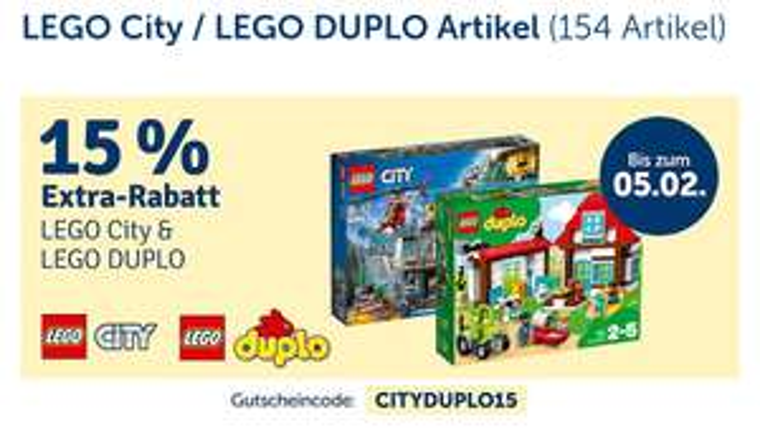 [MyToys] 15% auf Lego City & Lego DUPLO (MBW 39 €)