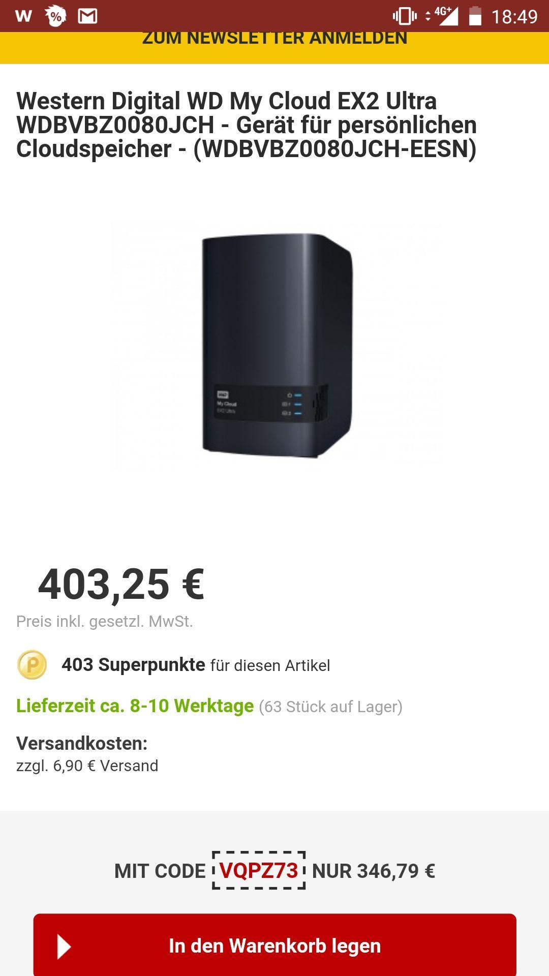 Digital My Cloud EX2 Ultra2-Bay 8TB für 347 [Preisfall] RAKUTEN