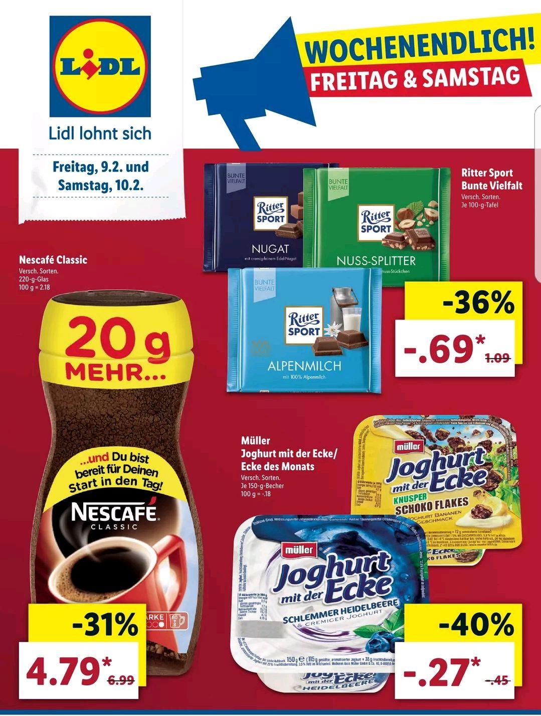 [LIDL] Joghurt mit der Ecke für 0.27€ oder Ritter Sport für 0.69€