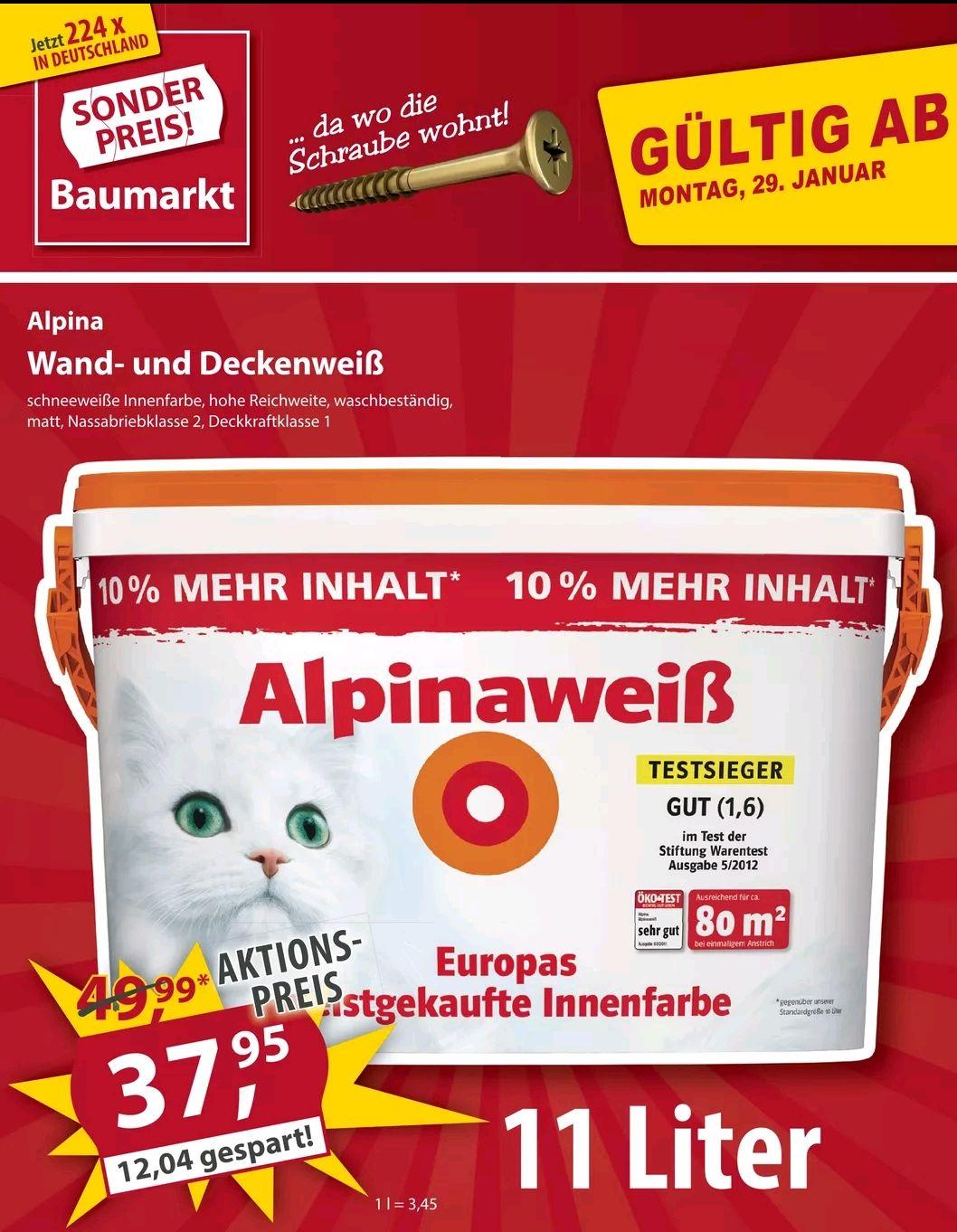 Alpinaweiß Wandfarbe 11 Liter (mit Katze)