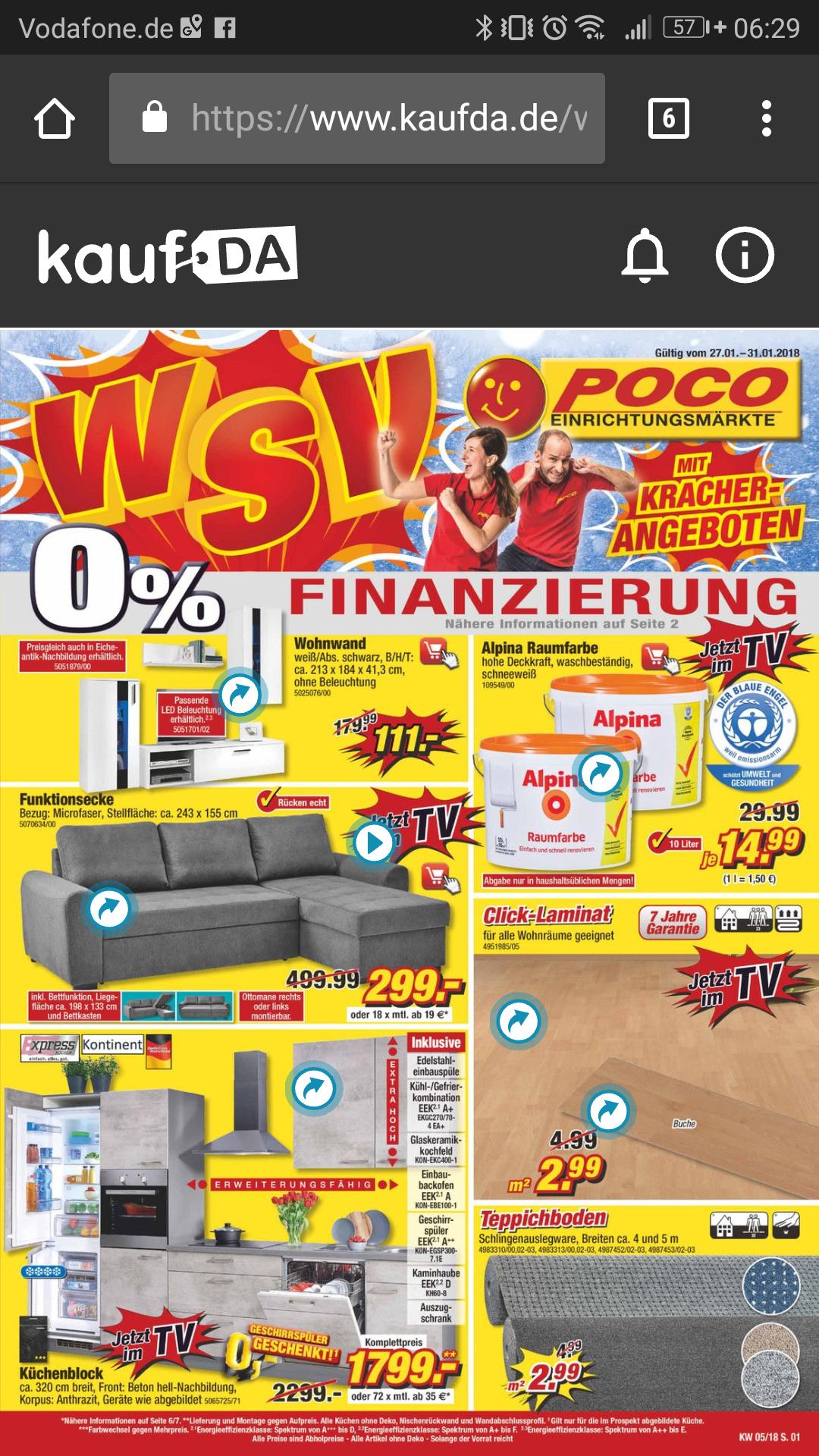 Alpina Raumfarbe weiß 10L bei Poco offline für 14,99€, online 21,49€.