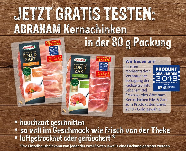 *Gratis testen* Abraham Kernschinken Edel & Zart Sorten: luftgetrocknet und geräuchert