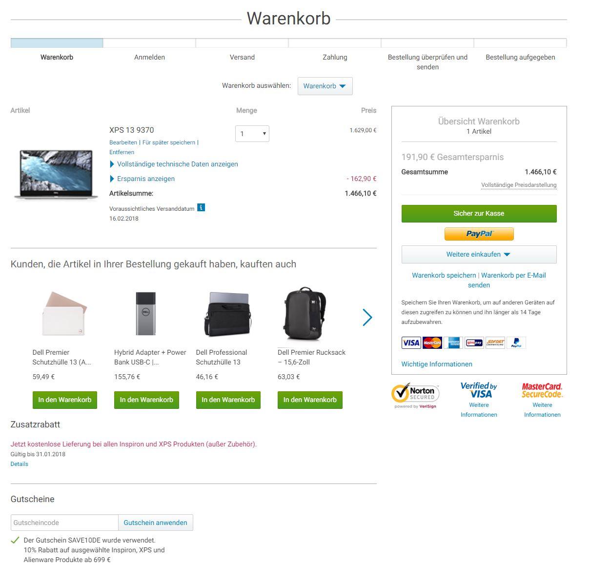 10% Rabatt auf das neue Dell XPS13 2018 und kostenloser Versand