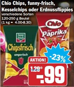 HIT: Chio Chips, funny-frisch, Kesselchips oder Erdnussflippies (ab 05.02.) - nicht lustig.... aber funny!