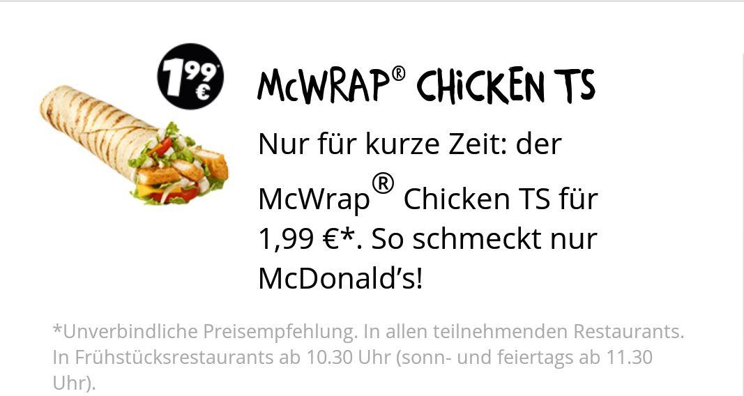 McDonald's McWrap Chicken TS für nur 1,99€ Deutschlandweit*