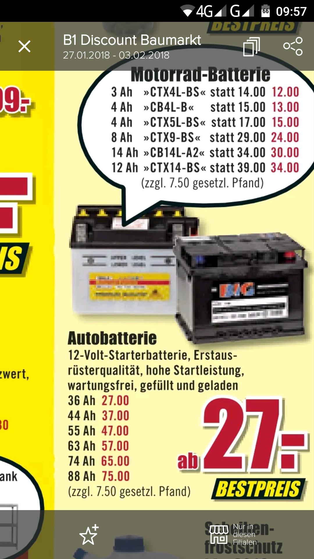B1 Discount Baumarkt Auto/Motorrad Batterien ( BIG )