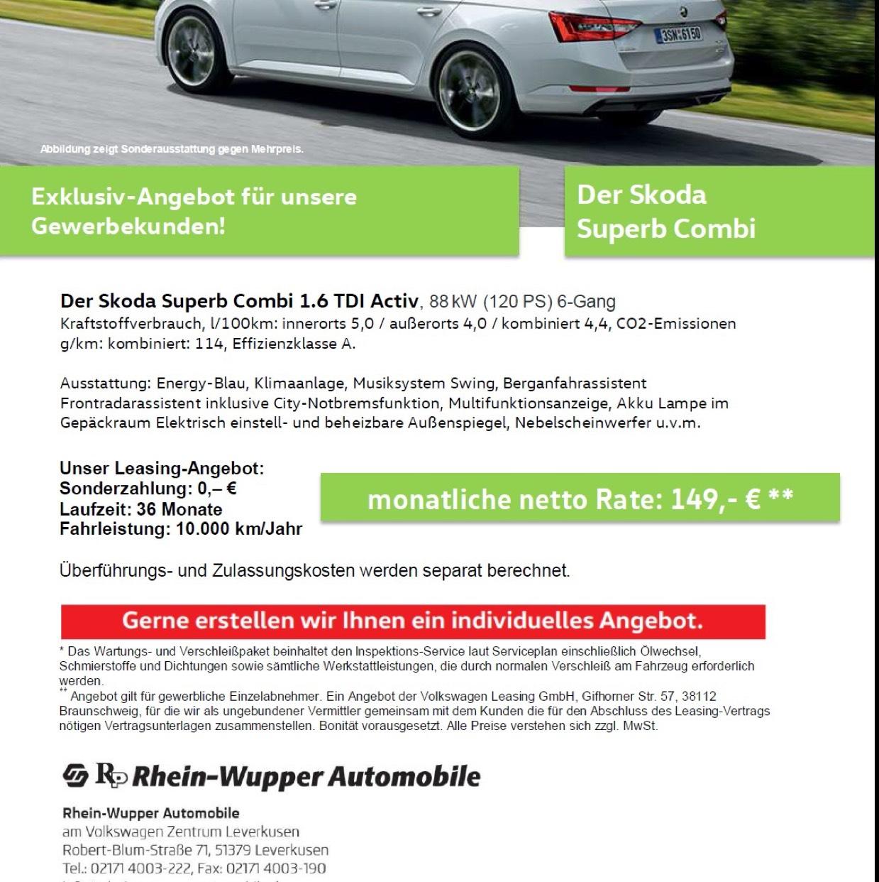 Skoda Superb Combi 1.6 tdi Activ 88 KW 6-Gang Geschäftskundenleasing (Lokal)