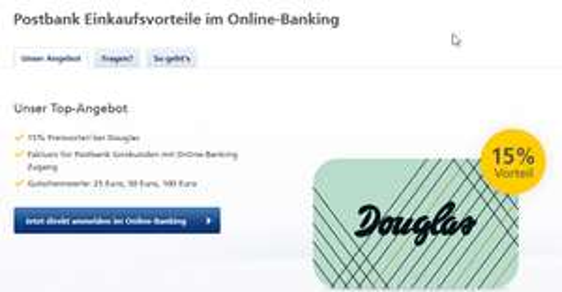Douglas Gutscheinkarte mit 15% Preisvorteil in der Vorteilswelt für Postbank Kunden