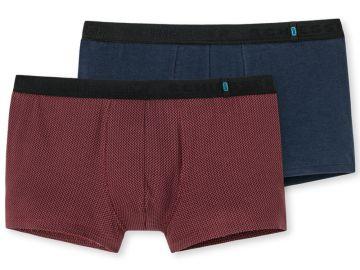 Schiesser Herren Boxershorts 2er Pack 95/5 Farbe: Rot und Blau