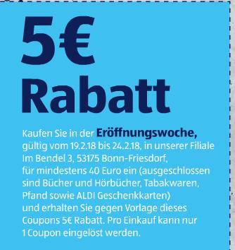 [Aldi Bonn-Friesdorf] 5€ Gutscheine, Eröffnungsangebote und gratis Tasche am 19.2.