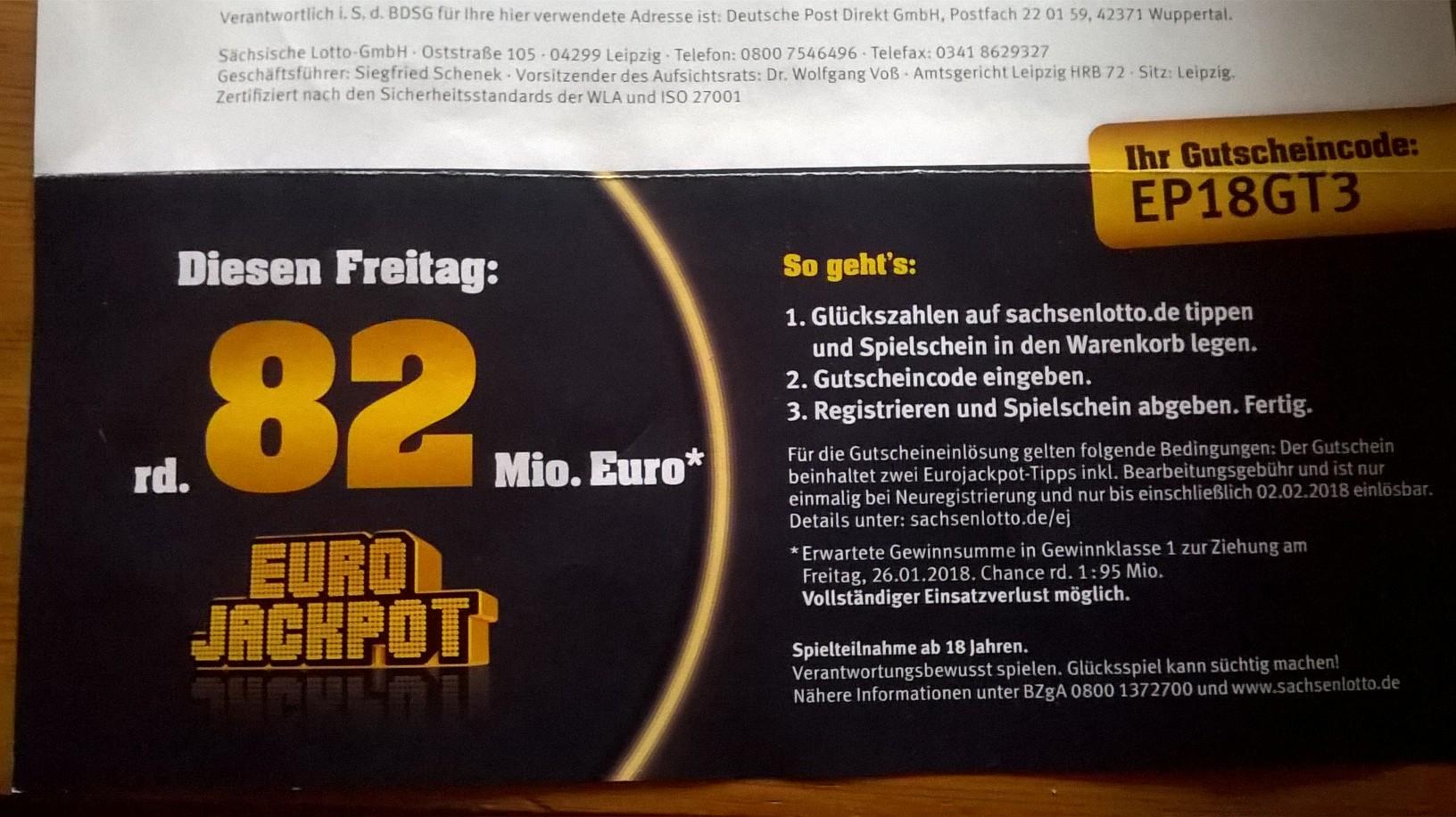 Nur für Neukunden aus Sachsen - 2 x Eurojackpot for free (90Mio) @ sachsenlotto
